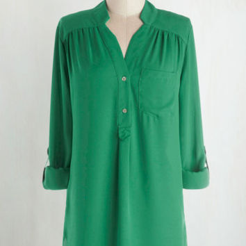 Long 3 Pam Breeze-ly Tunic in Green by ModCloth