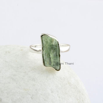 Green Kyanite 7x17 mm Raw Slice 925 Sterling Silver Bezel Setting Ring, Green Kyanite Gemstone Ring for Mother's  Day