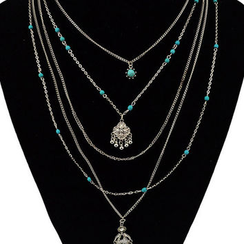 Silver Turquoise Beaded Multi Layer Necklace