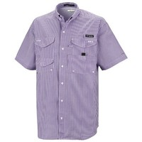 Columbia Sportswear PFG Super Bonehead Classic Shirt - UPF 30, Short Sleeve (For Big and Tall Men) Iris Glow/Gingham 1X
