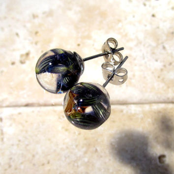 Lavender Flower Earrings, stud earring, plant jewelry, flower jewellery