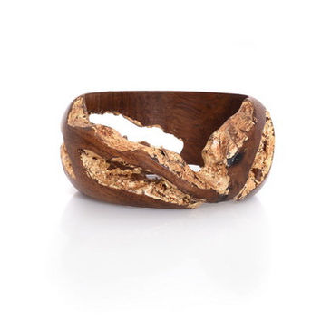 Indian Rosewood Bracelet with Gold Leaf – Regal Gold