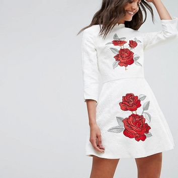 Chi Chi London Tall Jacquard Mini Dress with Mandarin Neck and Rose Embroidery at asos.com