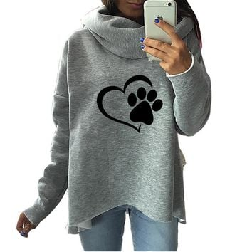 Animal dog paw printed oversize sweater