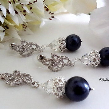 Swarovski Navy Blue Pearl Necklace Earring 2 Piece Set Navy Blue Wedding Bridal Bridesmaid Jewelry Mother of the Bride Groom Gift Navy Set
