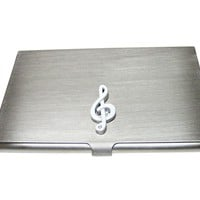 White Musical Treble Note Business Card Holder