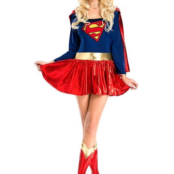MY QUEEN Womens Halloween Superwomen Costumes Superman Superhero Cosplay Party Siamese Dress = 1946241924