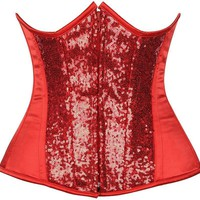 Daisy Corsets Top Drawer Red Sequin Steel Boned Under Bust Corset