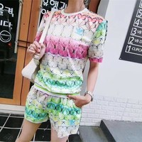 """Adidas"" Fashion Casual Multicolor Flower Clover Letter Print Short Sleeve Set Two-Piece Sportswear"