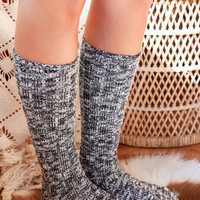 Heathered Knit Socks, Black