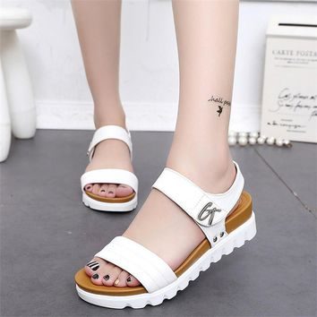 Thick soled sandals female summer 2017 new students a slip with flat sandals all-match