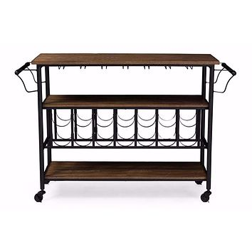 Bradford Rustic Industrial Style Metal Wood Mobile Kitchen Bar Serving Wine Cart By Baxton Studio