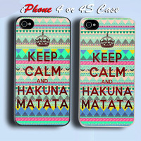 Keep Calm Hakuna Matata Custom iPhone 4 or 4S Case Cover