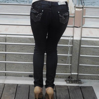 Brazilian Black Embellished Push-up Jeans