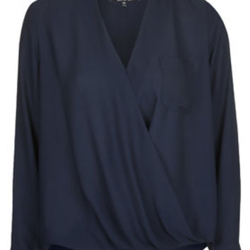 TALL Drape Front Blouse - Navy Blue