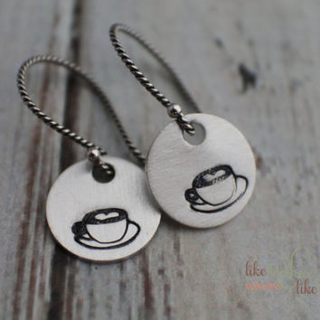 Hand Stamped Earrings - Jewelry - Sterling Silver Dangle Earrings - Coffee Cup or Latte Cup - Twisted Ear Wires Valentine's Day