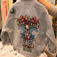 Spring BF Wind Flower Embroidery Denim Jeans Coat Women's Casual Loose Long Sleeve Allmatch Female Blue Denim Jacket