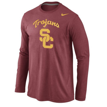 USC Trojans Nike Logo Cotton Long Sleeve T-Shirt - Cardinal