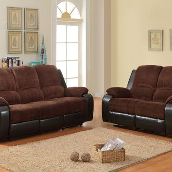 2 pc Bunker collection 2 tone chocolate corduroy and dark brown faux leather upholstered double reclining sofa and love seat set