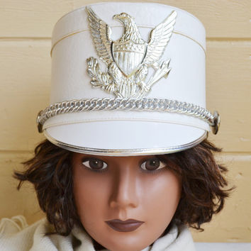 Vintage White Marching Band Hat with Silver Eagle Emblem Nicki Minaj Barbz Marching Band Hat White Shako