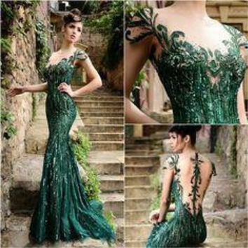Sexy Emerald Green Prom Dresses with Cap Sleeves Beaded Sequins Tulle Prom Gowns Backless Mermaid Formal Dress Prom Dress 2016