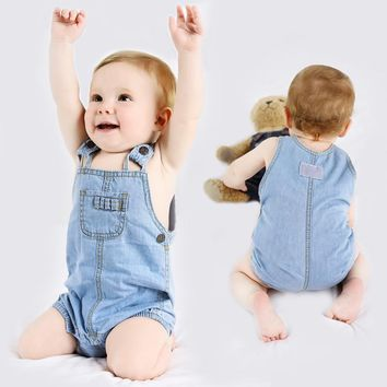 Baby clothes 2018 spring Baby denim rompers for boys Rompers sleeveless solid girls romper Newborn costume