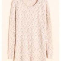 Women Autumn Slim Scoop Long Sleeve Hollow Ivory Knitting Sweater One Size@WH0065i $15.55 only in eFexcity.com.