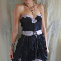 Moon Flower Bustier Dress... whimsical formal prom bridesmaid alternative boho free people goth black pink floral lace