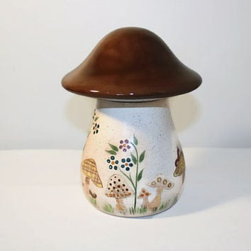 Ceramic Mushroom Jar with Lid, Storage Container