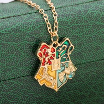 Hot salling Fashion jewelry Harry Magic School Badge Potter Necklace