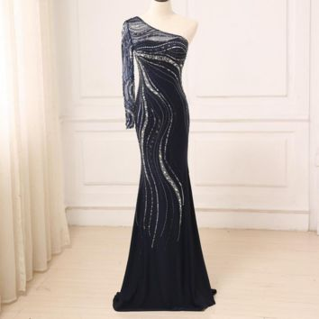 Evening Dress Long Sparkling New One-Shoulder Women Elegant Crystals Sequin Mermaid Maxi Evening Party Gown Dress