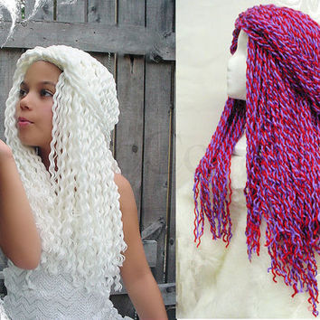 Yarn Falls Hair Crochet Hat Wig White Queen Custom Made by coocoos