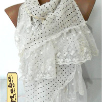 New- White Scarf -Elegant scarf - scarves - Fashion accessories- for her- christmas gift-winter accessories