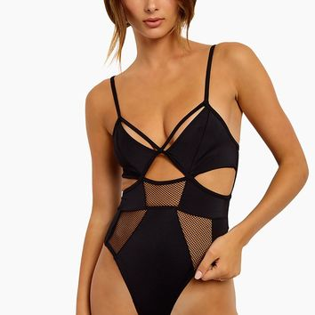 Slay Girl Mesh Panel One Piece Swimsuit - Black