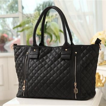 Women's Europe Fashion Style Checkerboard Handbag