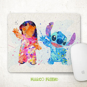 Disney Lilo And Stitch Watercolor Mouse Pad   Watercolor Painting    Mousepad   Disney Accessories