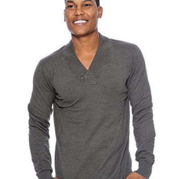 True Rock Mens Shawl Collar Sweater (Dark Gray)