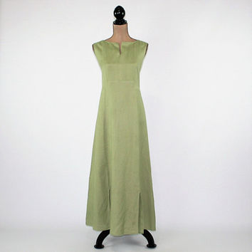 Green Linen Dress Sleeveless Summer Dress Women Maxi Dress Casual Long Dress Medium Dress Large Womens Clothing