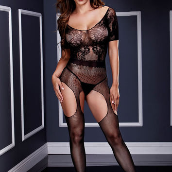 Short Sleeve Suspender Bodystocking