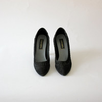 Vintage 50s 60s Black Suede High Heel Shoes / Sweetsteps