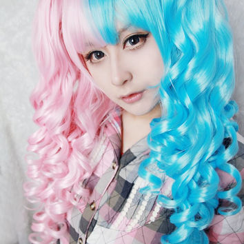 On sale silver purple wig long curly from exandoh on etsy cotton candy wig 70cm60cm long pink and blue mixed kawaill lolita fashion beautiful wig pmusecretfo Images