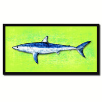 Shark Fish Green Canvas Print Picture Frame Gifts Home Decor Nautical Wall Art