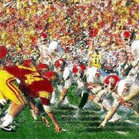 Oklahoma football art, USC football art, OU football art