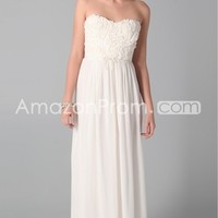 US $139.99 2014 Style A-line Strapless Ruffles Sleeveless Floor-length Chiffon White Prom Dress / Evening Dress