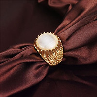 Vintage Classic Alloy Gold Plated Sunflower Shape Opals Men's Ring