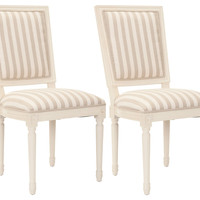 Cream Striped Donnelly Side Chairs, Pair, Side Chairs
