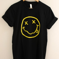 Grunge Smiley Face Black Graphic Unisex Tee