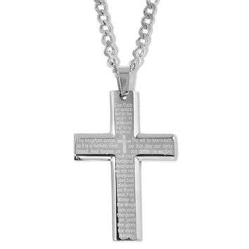 Stainless Steel Lord's Prayer Cross Pendant With Chain (24.00 In)