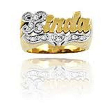14k Gold Overlay Any Name Ring Letters Personalized Jewelry Rings/a12