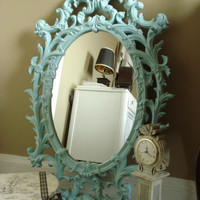 Vintage 1960's Large Ornate Mirror Hand Painted Tiffany Blue or Custom Chalkboard